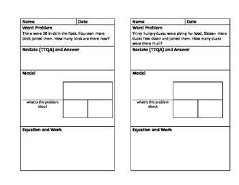 Word Problems Journal Size Template 2-Digit Addition