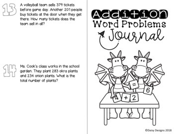 Word Problems Journals -2 and 3 Digit Addition, Subtraction and Two Step