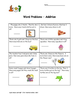 Guided Math: Word Problems Kindergarten & First Grade  - 55 Word Problems