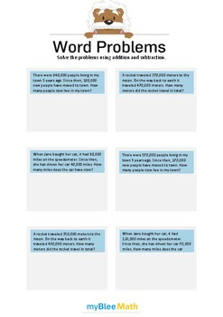 Word Problems - Large Numbers -4th-6th grade