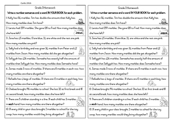 Word Problems Grade 3 Marbles theme
