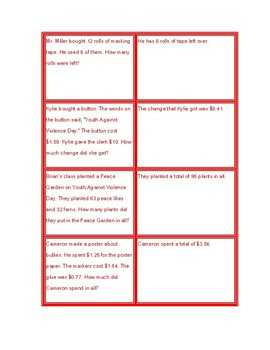 Word Problems Match Up for Second Grade