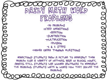 Word Problems Math Daily Problems 3rd-4th Grades Common Core