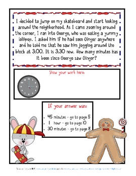 Word Problems-Mini-Math Mystery-Jogging Gingerbread-Grade 2-Freebie