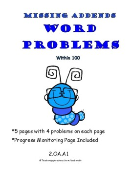 Word Problems: Missing Addends / Missing Parts: 2 digit numbers: with Regrouping