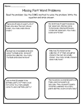Word Problems- Missing Part