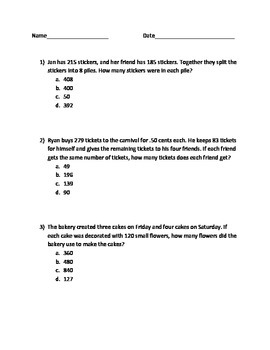 Word Problems: Mixed Review