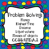 Word Problems-Money, Time, Distance, liquid volume, & masses Task Cards