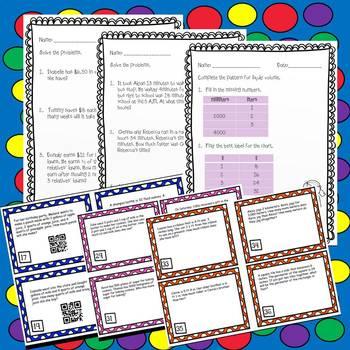 Word Problems-Money, Time, Distance, liquid volume, & masses Task Cards