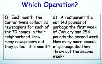 Word Problems Powerpoint and Worksheet - Multi Step
