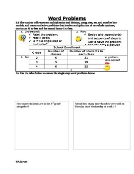 Word Problems: Multiplication 2 digit by 1 digit