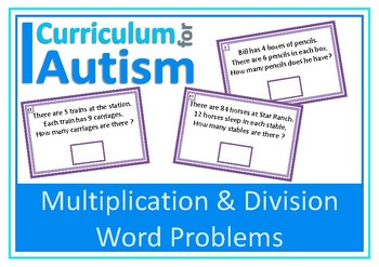 Word Problems Multiplication Division Autism Special Education