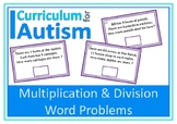 Word Problems Multiplication Division Task Cards Autism