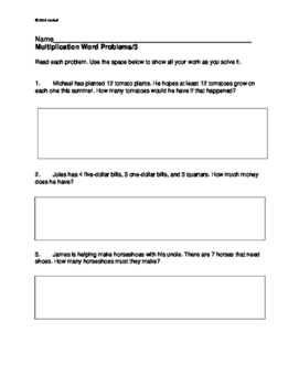 Word Problems: Multiplication. Grades 3, 4: 9 problems