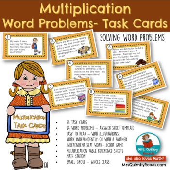 Word Problems - Multiplication -[Math Station]- Task Cards for Math