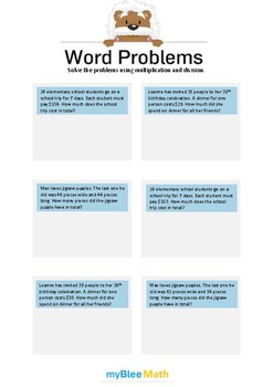 Word Problems - Multiplication and Division -3rd-5th grade