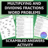 Multiplying and Dividing Fractions Word Problems Scrambled Answers Activity