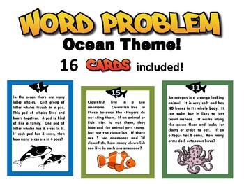 Word Problems - Ocean Animals part 2 - grades 3-5