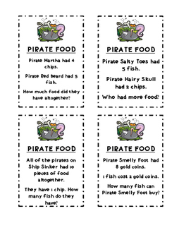 Word Problems- Pirate Food