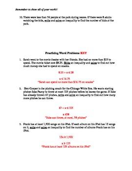 Word Problems Practice - Inequalities