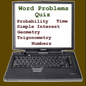 Word Problems Quiz - Math Probability, Geometry, Simple Interest, Time
