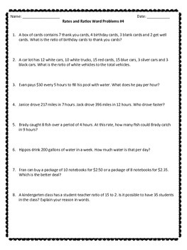 Rates and Ratios Word Problems Worksheets