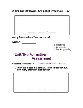 Word Problems, Relating Addition & Subtraction, Graphing Formative Assessments