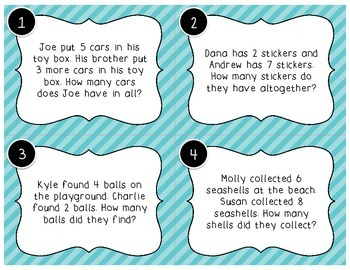 Word Problems Scoot- Sum of 2 Numbers under 20 1.OA.1