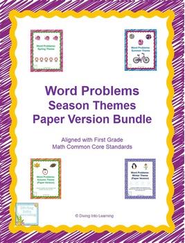 Word Problems: Season Themes Bundle (First Grade Paper Version)