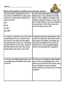 Word Problems-Second Grade-Worksheets-Duck Theme