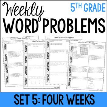 5th Grade Weekly Word Problems {Set 5: 4 Weeks}