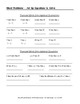 Word Problems ~ Set Up & Solve Equations