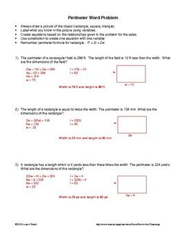 Word Problems: Single Variable involving Perimeter