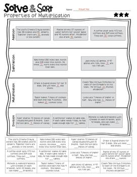 Word Problems Solve & Sort