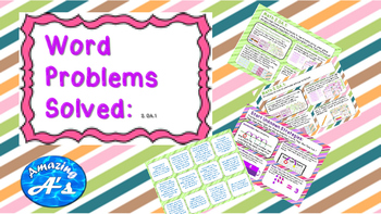 Word Problems Solved, Anchor Chart, Stations, and Game Cards
