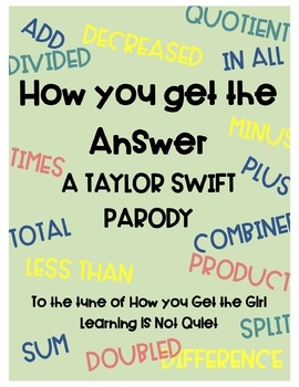 Word Problems Song (Taylor Swift, How You Get the Girl) (Lyrics Worksheet Video)
