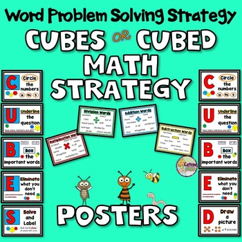 Word Problems Strategy Posters For Math - CUBES