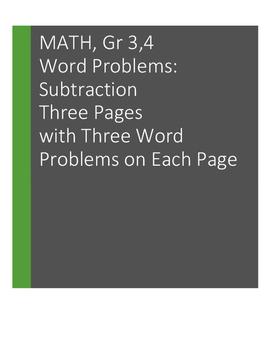 Word Problems: Subtraction. Grades 3, 4:  9 problems