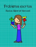 Word Problems-Subtraction Spanish Version- Two digit witho