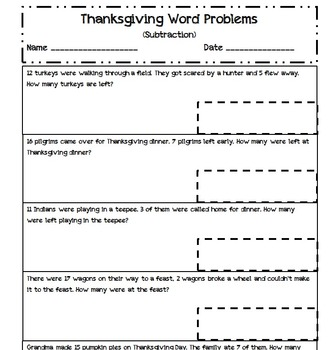 Word Problems - Subtraction - Thanksgiving