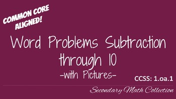Word Problems Subtraction through 10 with Pictures CCSS 1.oa.1