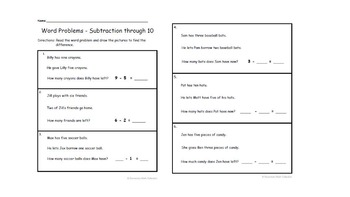 Word Problems: Subtraction through 10 (Without Pictures)