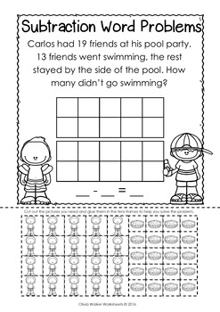 Word Problems - Subtraction to 20 - Cut and Paste - Grade One Printables