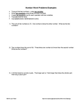 Word Problems: Systems of Equations Number Relationships