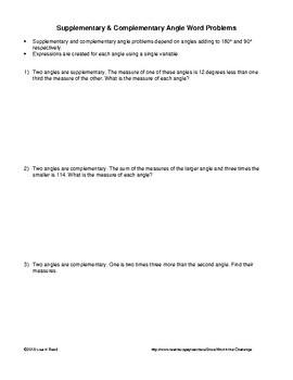 Word Problems: Systems of Equations  Supplementary & Complementary Angles