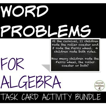 Word Problems Task Card Activity Bundle for preAlgebra and