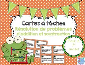 Word Problems Task Card French/ Les cartes à tâches Résolu