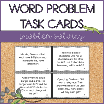 Word Problems Task Cards - Addition, Subtraction, Multiplication & Division (AU)