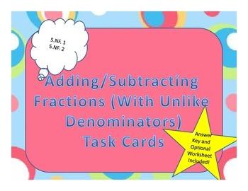 Word Problems Task Cards- Adding/Subtracting Fractions (unlike denominators)