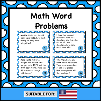 Word Problems Task Cards - Addition, Subtraction, Multiplication & Division (US)